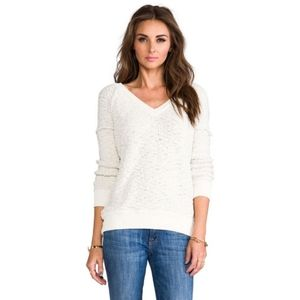 SANCTUARY Cream Textured V-Neck Sweater